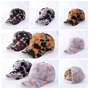 Padrão de camuflagem Rabo Baseball Cap Knitting Criss Cross Washed Cap Bola Moda Camouflage alta desarrumado Hat Party Hats Fontes RRA3823