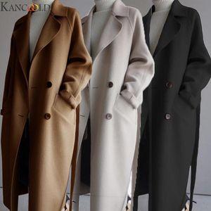 KANCOOLD Winter Women Jackets Solid Color Oversize Lapel Cashmere Wool Blend Belt Double-breasted Long Coat Outwear Jacket