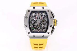 KV Fábrica producida la nueva versión de actualización V2 RM011 RM11-03 Vuelo Timer Limited Edition Watch adopta Mate Black DLC Titanium Metal para Mak