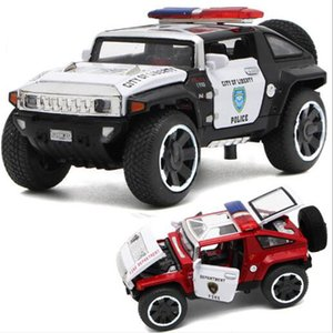 1 32 Scale Hummer Police Diecast Vehicles Model Cars Toys With Openable Doors Pull Back Function Light Music For Boys Gifts Z1124