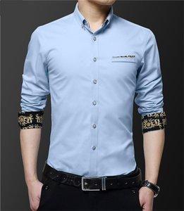 Neck Designer Casual Maschio Camicia maschile Mens Gentlemen manica lunga moda Business Dress Shirts Ricamo Fiore d'autunno