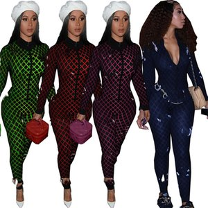 Brand Women clothing jumpsuits Designer ladies printing rompers S-XL One piece leggings Siamese trousers Long sleeve outfits 4 colors 4039