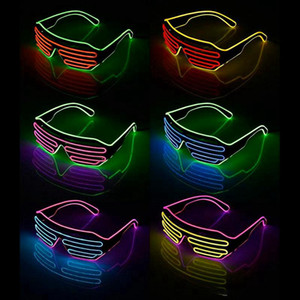 حزب LED نظارات سلك الفلورسنت فلاش زجاج نافذة السنة الجديدة عيد الفصح تخرج حزب بار ديكور شريط مضيئة نظارات RRE3410