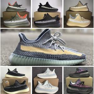 PK Version Kanye West Running Shoes Mens Mujeres Ash Blue Pearl Stone Designer Sneakers Black Glow Reps V2 Boosts Zebra Air Sport Shoe