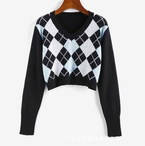 Women Fashion Sweater Women Cute Argyle V Neck Crop Sweaters Popular Streetwear Blue Pink Khaki Colors Size S M L XL