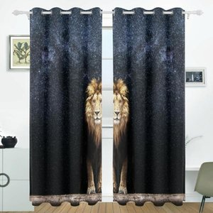 Night Sky Milky Wa Lion Curtains Drapes Panels Darkening Blackout Grommet Room Divider for Patio Window Sliding Glass Door