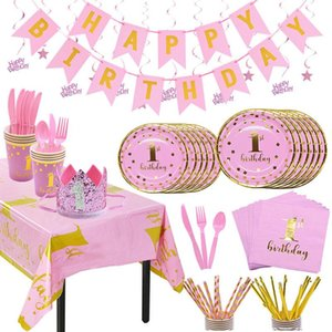 First Happy Birthday Disposable Tableware Set Pink Blue Plate Straws Napkins Cup for Baby Shower 1 Year Old Birthday Party Decor