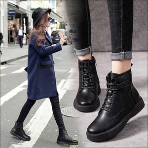 Genuine Leather Motorcycle Boots Women Short Bootee Woman High Heel Shoes Winter Female Lace-up Boots Shoes Soft and Comfortable