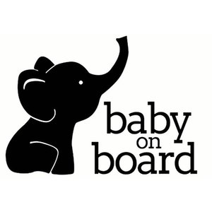 17X12.3CM BABY ON BOARD ELEPHANT Window Vinyl Decal Cartoon Warning Car Sticker Accessories C25-0072