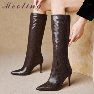 Meotina Snake Skin Extreme High Heel Rodilla High Boots Zapatos de mujer Punta de tacones de punta Tacones de tacón Silencio en moda botas largas Otoño 421