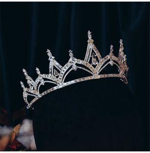 Queen Headband Retro Crown Tiara Crystal Rhinestone Wedding Bridal Hair Accessories Jewelry Party Prom Dress Accessories Jewelry Headdress