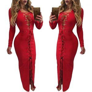 Robe de ligne Automne Sexy Couleur Solide Couleur Creux De Bandge Robes Mode Femme Vêtements Femme Designer A