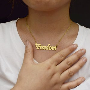 European and American popular Freedom necklace simple creative letter pendant lucky couple gift