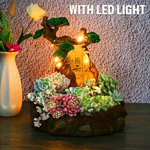 LED Plants Pot Flower Plants Succulent DIY Container Decorated with Mini Hanging Fairy Garden House Decor Q1125