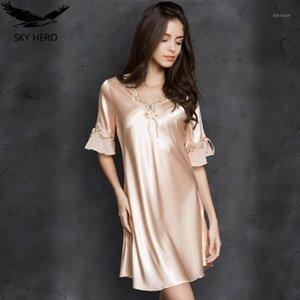 Женское сексуальное женское белье Silk Nightgown летнее платье кружевное ночное платье спящая одежда Babydoll Nightie Atin Homewear Homewear Cust Cadle Nightwear1