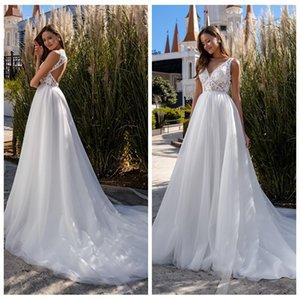 Simple Deep V-neck Sleeveless A-line Lace Wedding Dress Custom Made Open Back Bridal Gown 2021 New Vestido de Novia