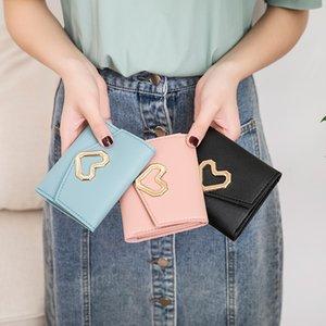 new 2020 Fashion Short Wallet Women Korean Heart-shaped Small Phone Bag Simple Square Tri-fold Wallet Ladies Coin Purse Bag BFVU