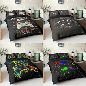Conjuntos de cama Gamepad Set Queen size Tampa de edredão Kids Creative Black CONDORTER Cama Gamer House Home Decor Bedclothes 2 / 3pcs