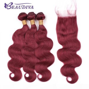 Beau Diva Pre Colored Hair Burgundy Bundles With Closure Brazilian Body Wave Bundles With Closure Remy Human Hair With Closure 4*4
