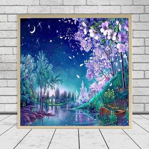 DIY Diamant Malerei Kreuzstich Mond Nacht River Baum Mosaik Diamant Stickerei Handarbeit Muster Strass Gemälde