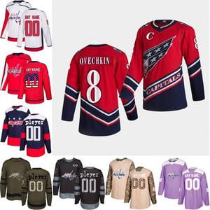 2021 Reverse Retro Custom Washington 대문자 Wilson Oshie Holtby Walker Ovechkin Hockey Jersey S-3XL 스티치