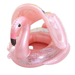 Rooxin Flamingo Inflatable Circle Baby Infant Float Swimming Ring with Sunshade Floating Seat Summer Beach Party Pool Toys Z1202