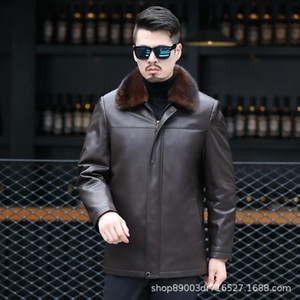 The new 2020 middle-aged and old leather leather fur collar winter coat Nick male clothing male mink bile dad