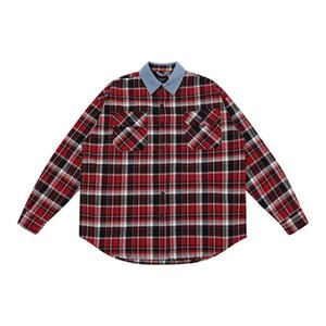 2020 New Designers Shirts Mens Clothing Denim Collar Plaid Shirts Shirt Jacket Jacket Fashion Casual Long Sleeve Men Shirt A11