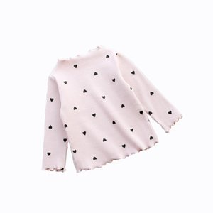 New Baby Girls Shirt Long-sleeved Tops For Kids O-necked Love Heart Baby T-shirt Toddler Bottoming Cotton Children Blouse