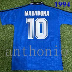 Top 1994 Argentina Retro Classsic Maradona 10 Batistuta Ortega Soccer Uniform Kits Jerseys de fútbol Tailandia Calidad Camisa de fútbol Tamaño S-XXL