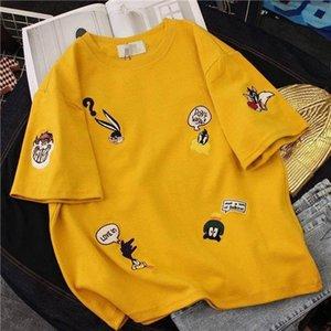 Summer Embroidered Korean 2019 New Short Sleeve T shirt Round Neck Student Half Sleeve Versatile Bottoming bloose Shirt 90s