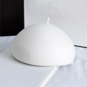 2020 100% Wool Felt Winter Beret Solid Warmer Women Beanies Cap Classical French Style Beret Femme Beanies Cap Ladies Fascinator Hat