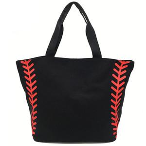 Foldable Shopping Bag Printed Portable Handbags Baseball Tote Softball Basketball Football Volleyball Canvas Bags 8 Style EEF3401