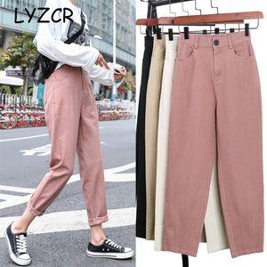 Lyzcr slip Summer Summer 2020 Jeans Khaki Denim Denim Pantaloni Donne Casual Harem Pantaloni femminili