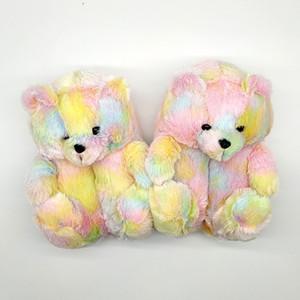 Plush Teddy Bear Cute Rainbow Cartoon Bear Indoor Slippers Non-Slip Mute Bedroom Office Soft Warm Winter Autumn Thick Hot Sale Q0108
