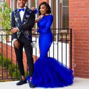 2021 Royal Blue Lace Mermaid Prom Dresses Beaded One Shoulder Long Sleeve Evening Gowns Plus Size Long Appliqued Tulle Formal Dress