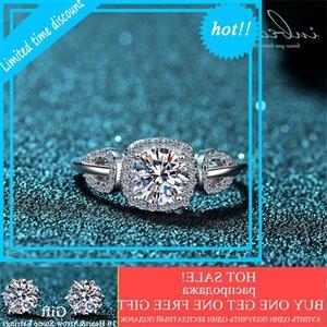 INBEAUT Сплошной 925 Стерлинговый серебристый Серебряный Лист Отличный D Color Moissanite Кольцо 0,8 КТ Pass Pass Diamond Test Stone Bruiloft Кольца