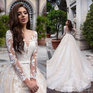 2021 Vintage Champagne Ball Gown Tulle Wedding Dresses Sheer Long Sleeves Lace Appliqued Bridal Gowns Custom Made Wedding Gowns BC1987