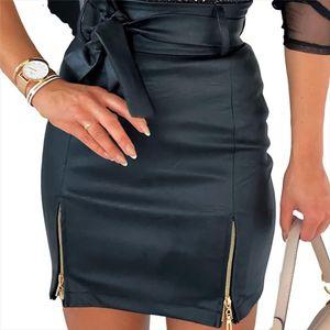 2020 New Spring Women Short Skirt PU Leather Sexy Mini Skirt With Double Zipper Pencil Slit Hem High Waist Women Big Size