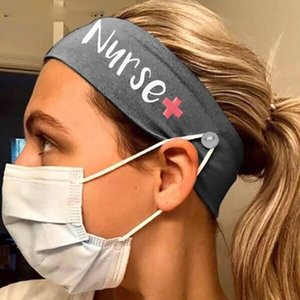 Wholesale Nurse Hairband Mask Headband Hairband with Button Mouth Mask Ear Stretch Sports Head Band Free DHL