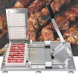 Yüksek Kaliteli Manuel Satay Şiş Makinesi BARBEKÜ Paslanmaz Çelik Mutton Kebap Kuzu Şiş Araçları Et Aşınma Dize Makinesi