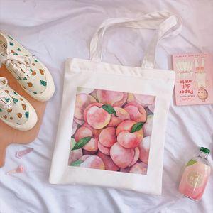Korean peach cute print new Harajuku bag large capacity canvas vintage cartoon Ulzzang ins sweet college chic shoulder bags