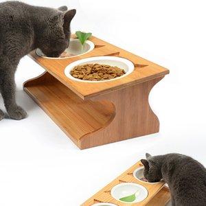 Cuencos de mascotas inclinados recién elevados con alimentador de mascotas de soporte de madera para perros de gatos de mascotas y200917