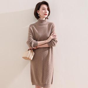 High-ende 100% reine Kaschmir-lange Pullover-Herbst-Winter-Frauen-Lose gestrickte Kleider weibliche Mode-Rollkragen-Vollfarb-Pullove