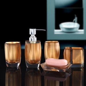 5pcs Acrylic bathroom supplies soap dish toothbrush set lovers mouth cup high-end shower gel lotion bottle bathroom accessories