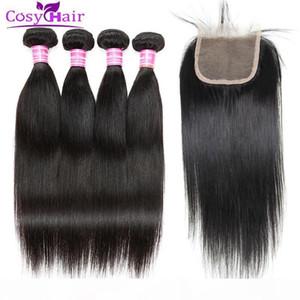 Atacado Brasileira Virgem Hair Strieght Cabelo Humano WeFts Bundles com 4x4 Lace Fechamento Não Transformado Extensões Weave Bundles