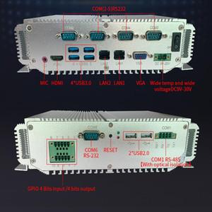 Fansız Endüstriyel PC Bilgisayar Intel Çekirdek 7200U Win 7 Win10 2 Gigabit Ethernet Barebone Mini PC 6 * RS232 / 485 4 * USB