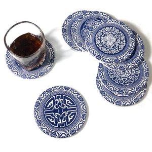 Ceramiche assorbenti Coaster casa pranzo Mat ispessite antiscottatura pranzo tavola rotonda Coaster ceramica creativa stuoia della tazza HWF3078