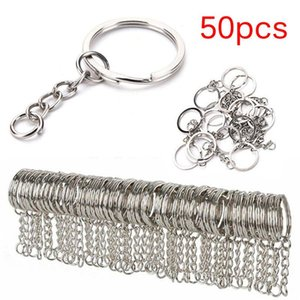50 pcs 25mm polido cor prata keyring keychain anel split com chaveiro curto anéis chave mulheres homens diy chaveiro acessórios acessórios