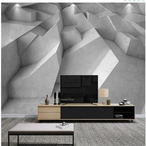 custom 3d photo wallpaper 3d wallpapers Gray white three-dimensional geometric wallpapers living room background wall